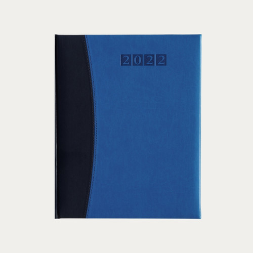 """The Hardbound Executive Desk Diary allows a lot of room to write and yet fits neatly in your bag or briefcase. It measures 8 ½""""x 10 ½"""" closed.  2022 Executive Desk Diary Capri Blue/Blue measures: 8 ½""""x 10 ½""""available in Weekly Format. Luxurious vegan leather with padded front and back covers in a two tone design. Finest quality paper printed in blue and black with silk ribbon marker. Hand sewn book block.  We have a  month at a view  planner that includes November 2021 through December 2022. 24 pages of full color city and world maps. Includes notes pages, information and reference section, toll-free numbers and world time zones and website listings.  All pages are finished with silver edges."""