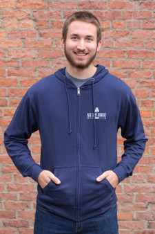 Front Logo, Back Build Fight Idaho Border Zip Hoodie (navy)