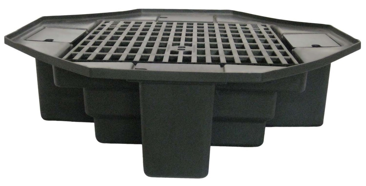Economy Fountain Basins are  ideal for use with a variety of statuary pieces. Designed for concrete blocks to sit under grating which greatly increases load capacity!