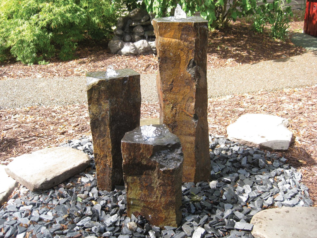 """Basalt columns are core drilled with a 1 1/4"""" hole from end to end, the last 1 1/2"""" is enlarged to 13/8"""" to hide light ring."""