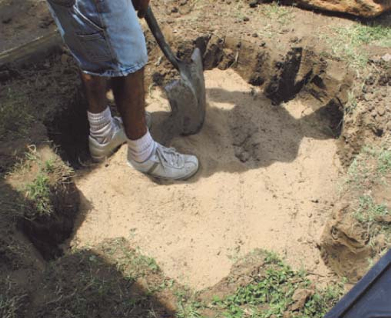 1. Dig hole, compact ground under basin.