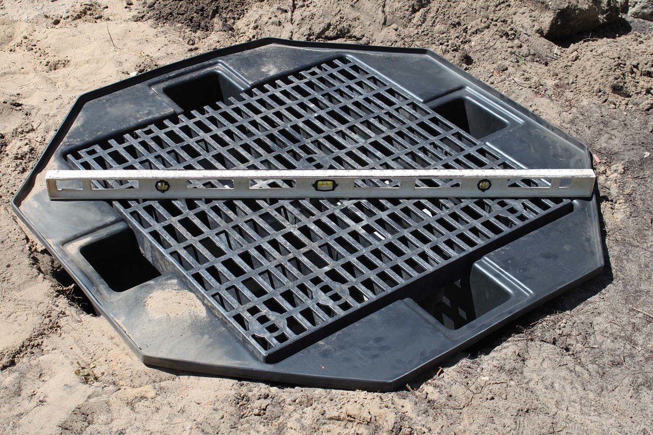 2. Install basin - level and backfill.