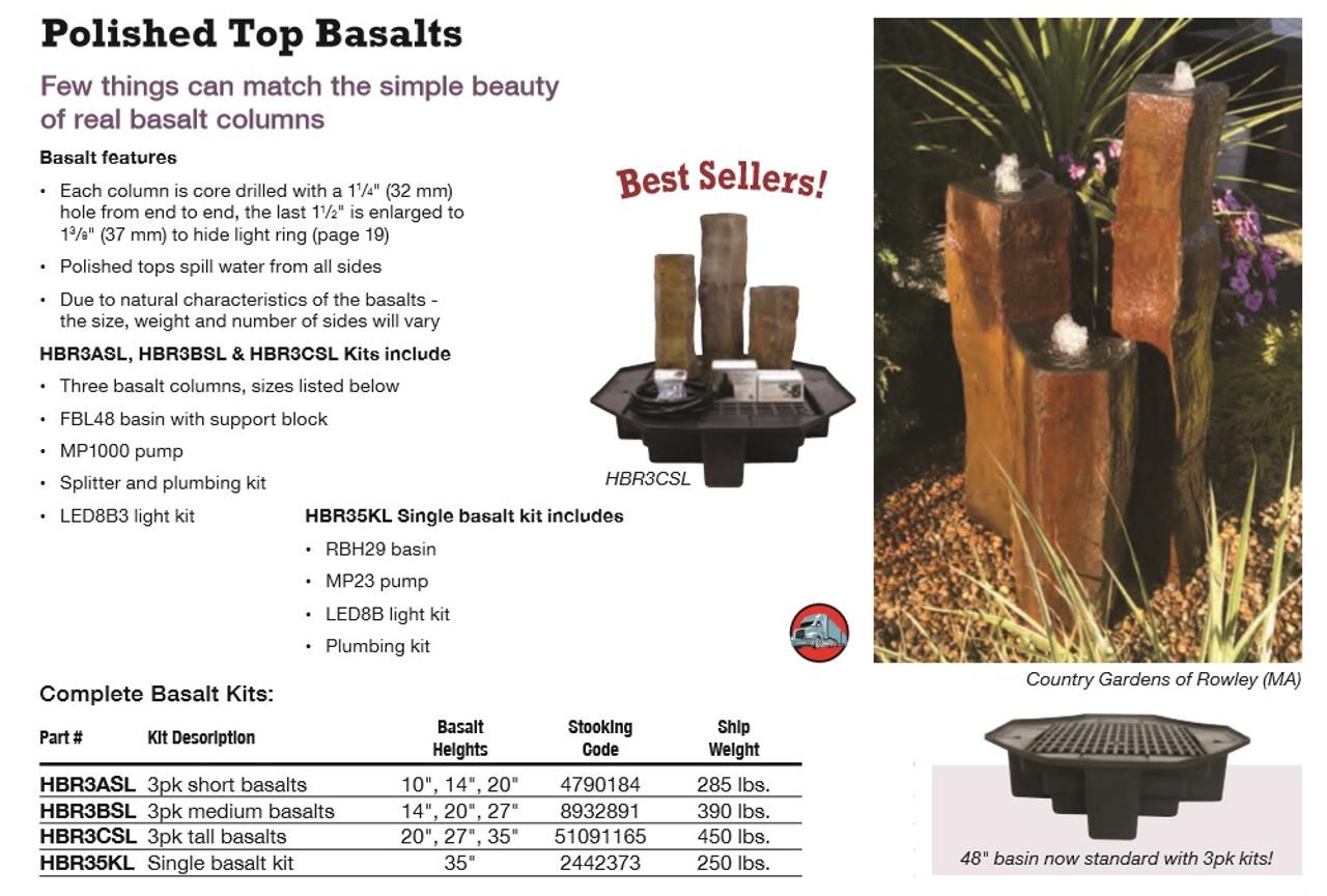 Tranquil Decor Polished Top Basalt Kit w/ Basin