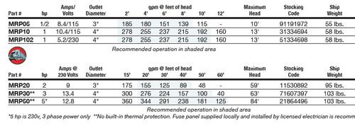 1 HP Munro RP Series High Volume Pump - 16680 gph (230v)