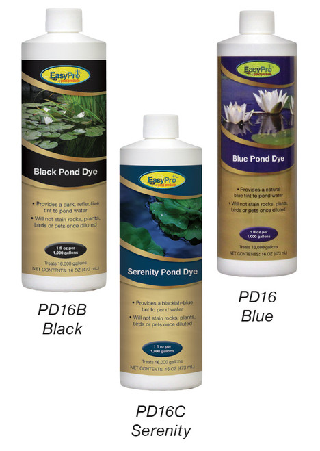 "Blue dye gives water a ""Caribbean Blue"" look Black dye gives a more ""reflective"" look Serenity dye is a blackish-blue combination pond dye"