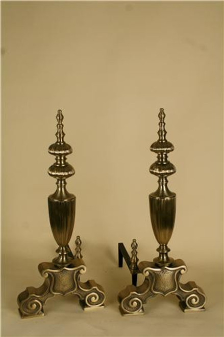 809, Solid brass andirons, by Portland Willamette,  Free  Shipping, MSRP ($2,906.00)