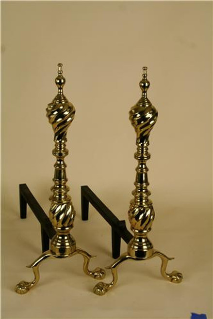 5044, Ansoborough Andirons, by Virginia Metalcrafters, Free Shipping, MSRP ($914.00), Polished Brass