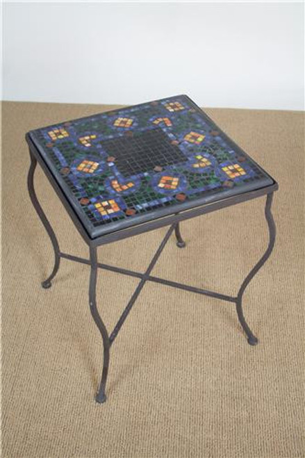 "G31-12, Caramel Butterfly, by KNF Designs, Free Shipping, MSRP ($585.00), 18"" mosaic square end-table with aluminum base"