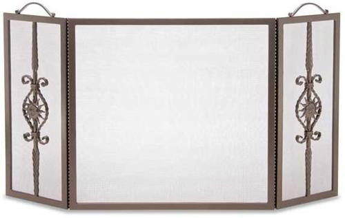 18241, forged sun, by Pilgrim Home And Hearth, Free Shipping, MSRP ($329.00), tri-panel fireplace screen, in burnished bronze