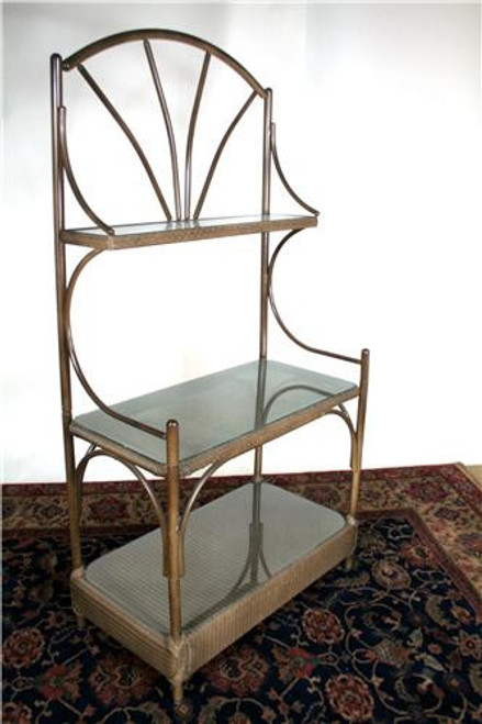6359, Outdoor wicker baker's rack, by Lloyd Flanders, Free Shipping, MSRP ($1,300.00), with glass shelves