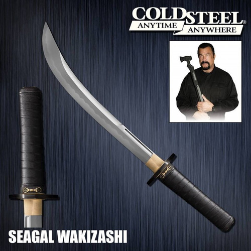 CS88PKW, Seagal Signature Wakizashi by Cold Steel Inc., Free Shipping, MSRP ($749.95), Damascus
