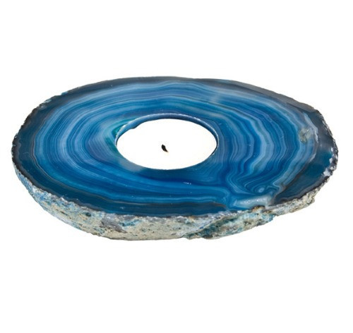 TBSA, Agate Slab Blue Candle Holder by Nature's Expression, Free Shipping, MSRP ($36.00)