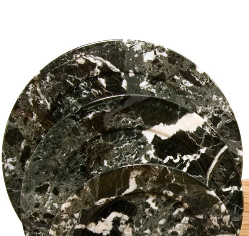 """PBZXL, Black Zebra Marble 11.5"""" Plate by Nature's Expression, Free Shipping, MSRP ($75.00)"""