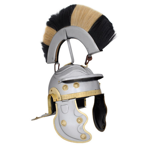 AB3002, 18G Black and White Crest Roman Gallic Helmet by SAY,  Free Shipping, MSRP ($169.00)