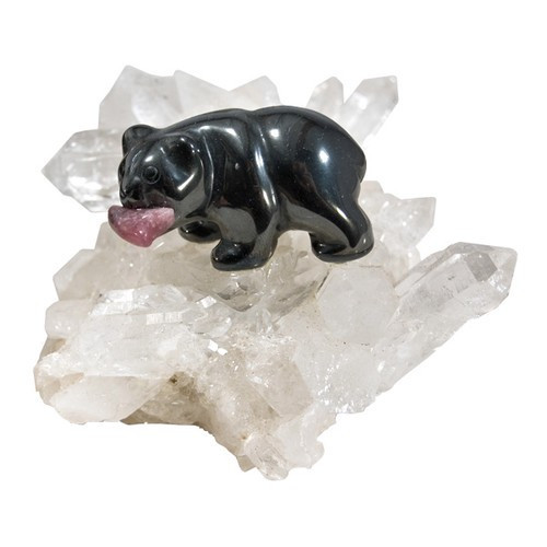 HBQ35, Hematite Bear On Quartz Cluster - Small by Nature's Expression, Free Shipping, MSRP ($39.00)