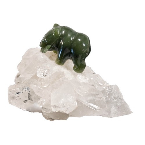 JBQ35, Jade Bear On Quartz Cluster - Small by Nature's Expression, Free Shipping, MSRP ($63.00)