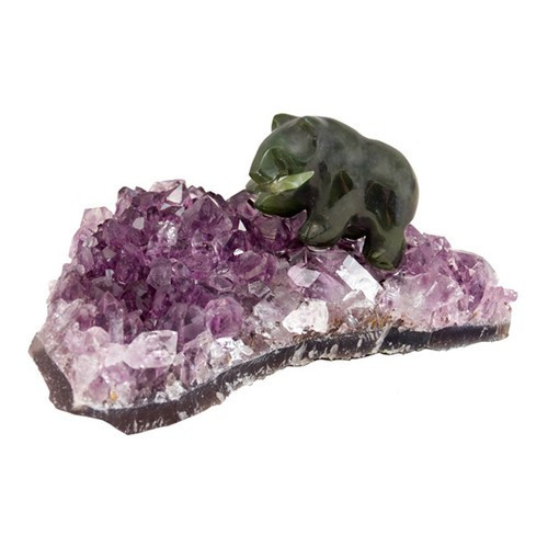 JBA37, Jade Bear On Amethyst - Medium by Nature's Expression, Free Shipping, MSRP ($75.00)