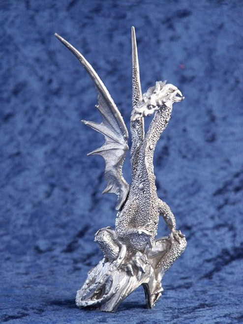 S234, Dragon Sitting On Cave by Perth Pewter, Free Shipping, MSRP ($40.00), S-Series Large Fantasy Pewter Figurine