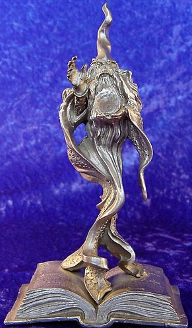 FA59, Book Wizard W/ Crystal Ball by Perth Pewter, Free Shipping, MSRP ($85.00), FA-Series Fantasy Pewter Figurine