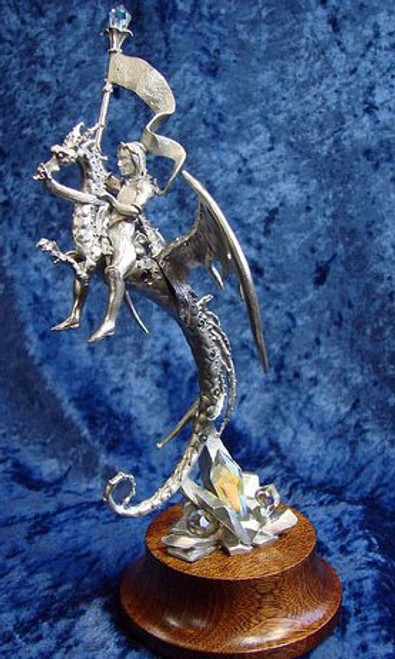 S246, Dragon With Knight Rider by Perth Pewter, Free Shipping, MSRP ($125.00), S-Series Large Fantasy Pewter Figurine