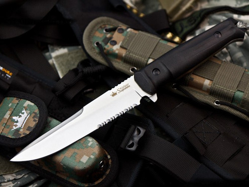 KK0005, Serrated Edge Satin by Kizlyar Supreme Knives, Free Shipping, MSRP ($155.00),  Alpha AUS 8 Steel
