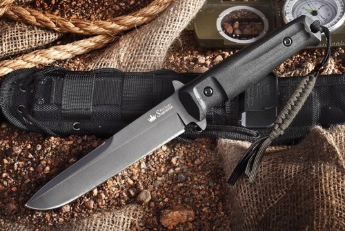 KK0215, Trident Tactical Knife D2 with Black Titanium by Kizlyar Supreme Knives, Free Shipping, MSRP ($174.95)