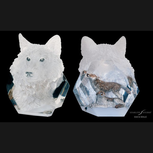 Devotion, Wolf by Kitty Cantrell-Lucite Art, Free Shipping, MSRP ($590.00)