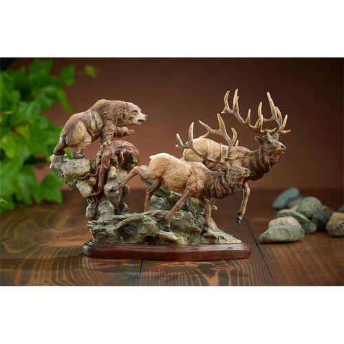Encounter, Elk & Bear Sculpture by Danny Edwards-Western Wildlife Art, Free Shipping, MSRP ($170.00)
