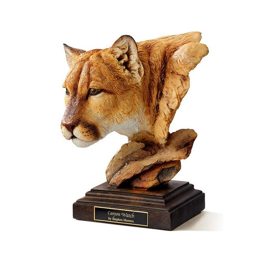 Canyon Watch, Cougar Sculpture by  Stephen Herrero-Western Wildlife Art, Free Shipping, MSRP ($170.00)