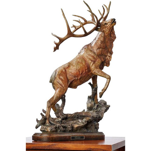 Call to Contest, Elk Sculpture by  Stephen Herrero-Western Wildlife Art, Free Shipping, MSRP ($710.00)
