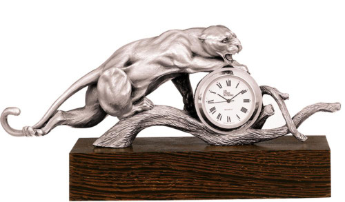 Pewter Clock panther HO 8 by Les Estain Du Prince, Free Shipping, MSRP(719.90)