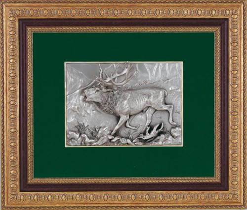 Pewter frame stag SPS 559 by Les Estain Du Prince, Free Shipping, MSRP(580.32)