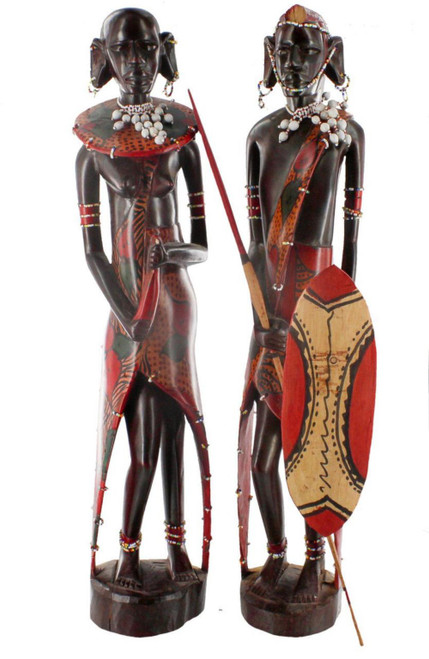 Hand Carved Pair of Masaai (with clothes) 24'' by Zawadee, Free Shipping, MSRP ($324.99)