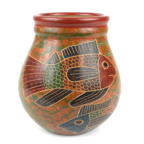 6 inch Tall Vase - Fish by Zawadee, Free Shipping, MSRP ($59.99)