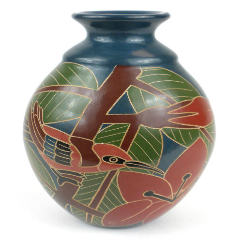 8 inch Tall Vase - Red Bird by Zawadee, Free Shipping, MSRP ($69.99)
