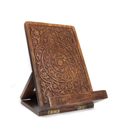 Carved Rosewood Tablet and Book Easel by Zawadee, Free Shipping, MSRP ($74.99)