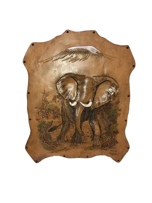 Leather African Elephant and Mount Kilimanjaro Wall Hanging by Zawadee, Free Shipping, MSRP ($214.99)