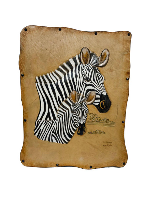 Leather African Zebras Wall Hanging 18in by Zawadee, Free Shipping, MSRP ($214.99)