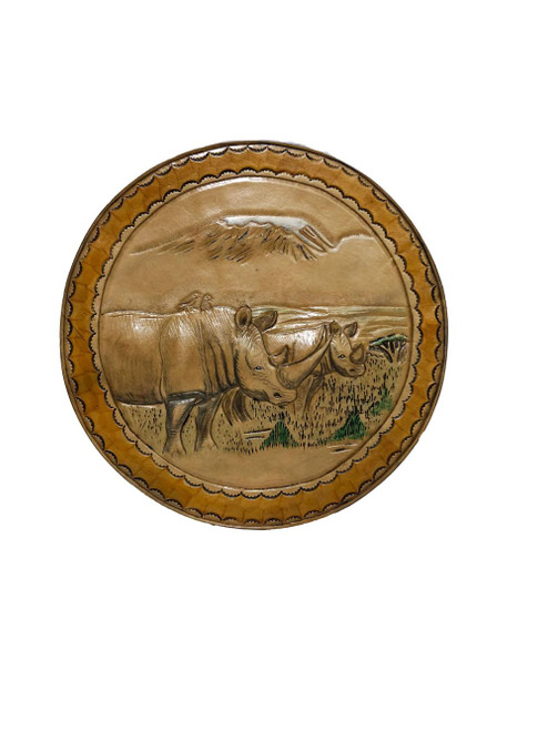 Leather Rhinoceros with Mount Kilimanjaro Wall Hanging by Zawadee, Free Shipping, MSRP ($124.99)