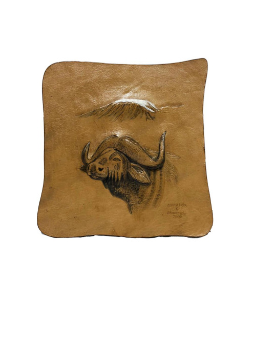 African Buffalo with Mount Kilimanjaro, Genuine Leather - Embossed by Zawadee, Free Shipping, MSRP(134.99)
