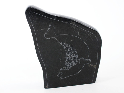 Playful baby seal soapstone etching by Charlie Tarkirk, Free Shipping, MSRP($275)