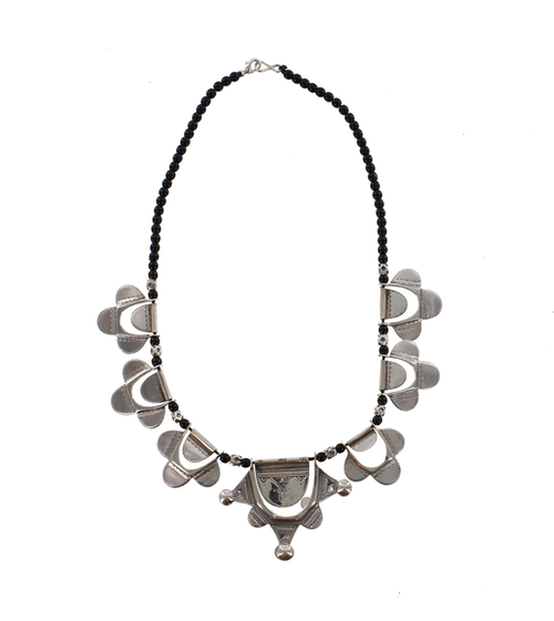 HAMAISSA, Silver & Black Bead Necklace by The Azel Collection Free Shipping, MSRP($186.99)