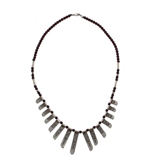 CELEBRA , Traditional Silver & Black Bead Necklace by The Azel Collection Free Shipping, MSRP($186.99)