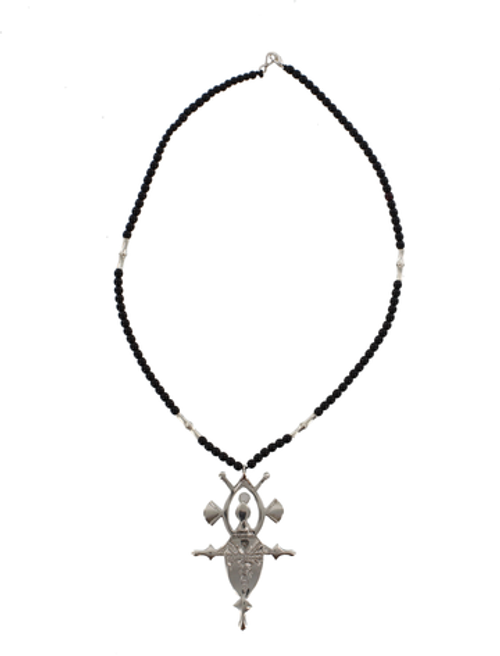 TZILA, Silver & Black Bead Tuareg Cross Design by The Azel Collection Free Shipping, MSRP($149.99)