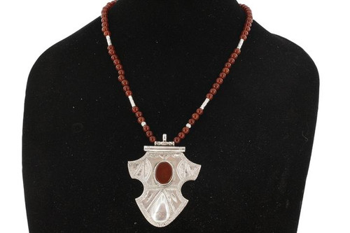 TINITRAN, Bold Silver & Semi-Precious Stone Pendant by The Azel Collection Free Shipping, MSRP($149.99)