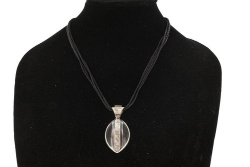 MUNATAS, Oval Black Agate & Silver Pendant with Raised Intricately Etched Bail by The Azel Collection Free Shipping, MSRP($149.99)