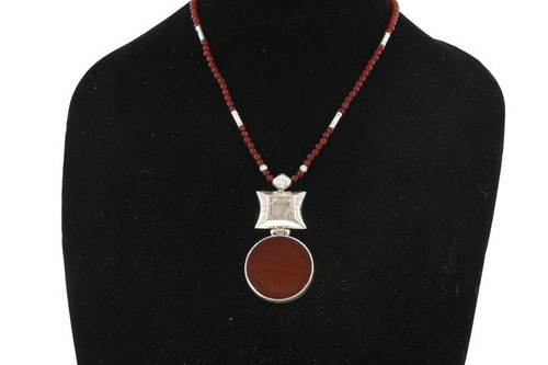 LUNJA, Circular Semi-Precious Stone and Silver Pendant by The Azel Collection Free Shipping, MSRP($149.99)