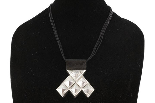 HAMAISSA, Geometric Silver Pendant with Raised Bail by The Azel Collection Free Shipping, MSRP($149.99)