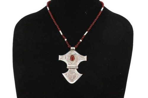 DIHYA, Geometric Silver Pendant with Semi-Precious Stone and Black and Silver Beads by The Azel Collection Free Shipping, MSRP($149.99)