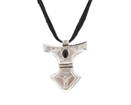 AFAW Dramatic Silver & Black Agate Pendant, Intricate Etching and Black Beads, by The Azel Collection, Free Shipping, MSRP($149.99)